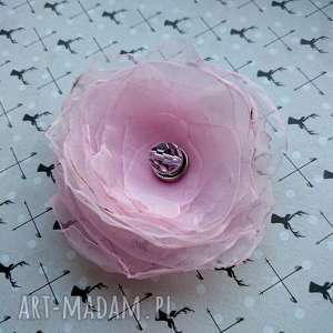 rosa broszka, przypinka, brosza, organza, ozdoba