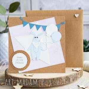 Wesoła kartka z królikiem personalizacja urodziny roczek