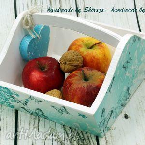 Prezent drewniany koszyk- motyle, na, owoce, drewniany, koszyczek, prezent, dekoracja