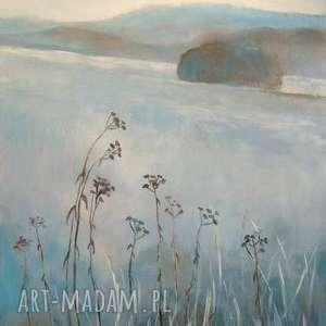 łąka, niebieski, szary, biały, trawy, świąteczny prezent
