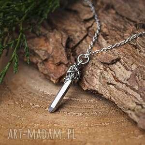 wisiorek talizman kwarc tytanowy aura srebrny wire wrapping stal chirurgiczna
