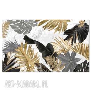 obraz kwiaty 8 - 120x70cm liście do szarego wnętrza natura, obraz