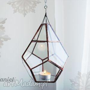 hanielgallery wiszący lampion witrażowy tykwa skandynawska witraż tiffany, lampon