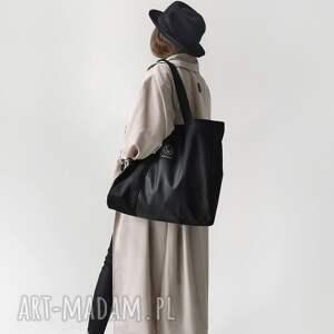 ręczne wykonanie torebki pojemna czarna torba na ramię