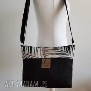 torebki torebka mini - czarnobeżowa w palmy, torebka, mała, mini, palmy