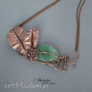 Creation necklace - naszyjnik, miedź, tropik, metaloplastyka, agat, zieleń