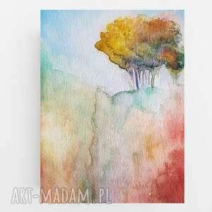 drzewo-praca wykonana farbą akwarelową formatu a5, akwarela, papier, pejzaż