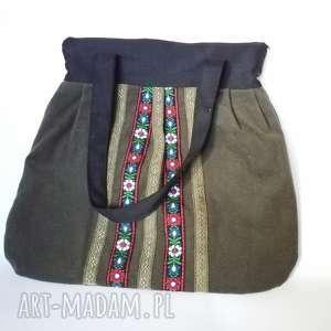 duża ludowa torba tasiemki haftowana ciemna zieleń filc, haftowana, folk