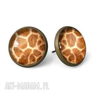 żyrafa - kolczyki wkrętki - wkręty, sztyfty, futro