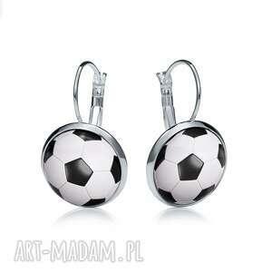 kolczyki wiszące z grafiką football, piłka, nożna, sport, trener, prezent