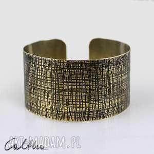 kora - mosiężna bransoletka, bransoleta, szeroka, mosiężna, złota