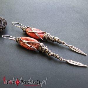 kolczyki indiańskie z piórkami, indiańskie, piórka, postarzane, srebro
