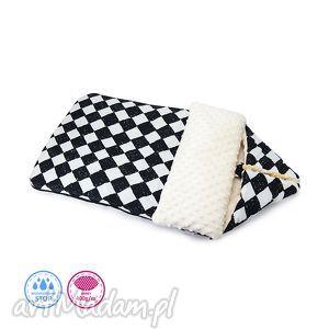 dla dziecka śpiworek minky m - szachownica na kremie, śpiworek