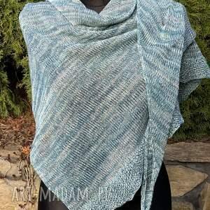 chustki i apaszki chusta asymetryczna z bawełną odcienie turkusu, chusta, szal
