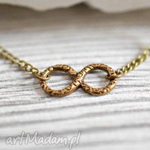 ręcznie robione naszyjniki nieskończoność - infinity brązowy łańcuszek