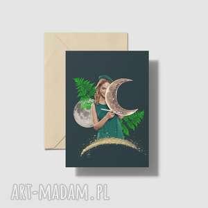 ręcznie wykonane kartki kartka a5 księżycowa dziewczyna