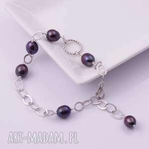 Srebrna bransoletka z ciemnymi perłami monle srebrna, oryginalna
