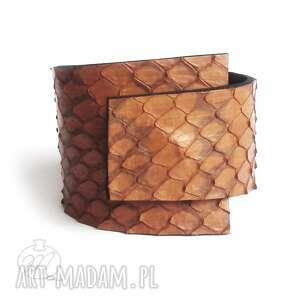 handmade bransoletka skórzana wrapped karmelowa wężowa