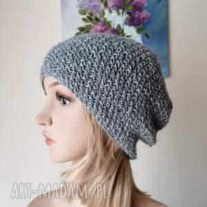 na wiosnę, lato 2 czapka z lnu i cieniutkiej wełenki, rękodzieło, bezszwowa