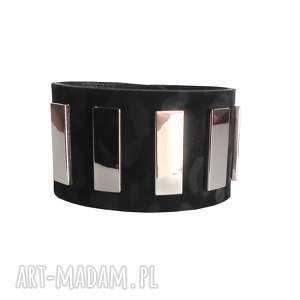 ręcznie wykonane bransoletki bransoleta skórzana czarna panterka srebro