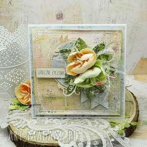 Serdeczne życzenia - kartka w pudełku scrapbooking kartki