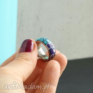 obrączka z fimo i stali - pierścionki, obrączki, kolorowe, geometryczne, stal