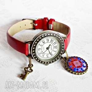 zegarki zegarek damski na pasku skórzanym z zawieszką, damski, modny, skóra, mandala