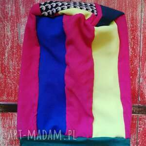 czapka damska wiosenna patchworkowa- box t1- na tym etapie zadnen nie chrapie na podszewce