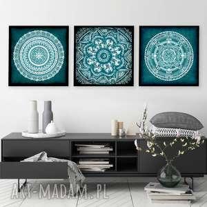 Zestaw 3 prac 50x50cm, mandala, mandale, turkus, sztuka, obraz, grafika