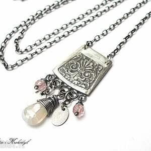 proporczyk - naszyjnik, srebro, kwarc, oksydowane, świąteczny prezent