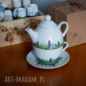 zestaw do herbaty - tea for one wiosenna łąka, prezent dla niej, porcelana