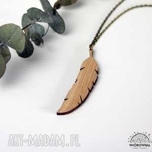 handmade naszyjniki drewniany naszyjnik - piórko