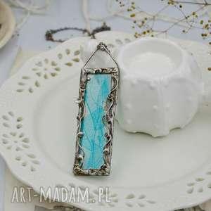 hand-made naszyjniki niebieskie liście - naszyjnik z prawdziwymi liśćmi