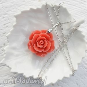 wyjątkowy prezent, romantic rose naszyjnik, róża, koral, długi, srebrny, romantyczny