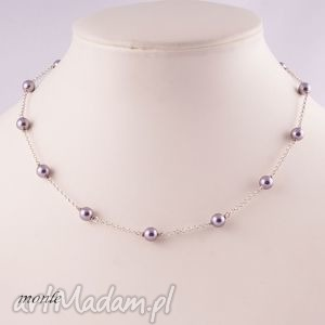 Mauve, naszyjnik z pereł Swarovski - ,krótki,liliowy,naszyjnik,swarovski,perły,srebro,