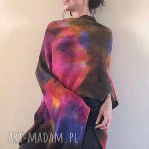 Unikatowe ręcznie barwione kolorowe wełniane ponczo poncho anna