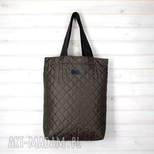 Prezent Pikowana shopperka torba na ramię oliwkowa, pikowana, shopperka, torebka