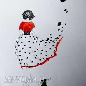 Praca akwarelą i piórkiem BEZSILNOŚĆ artystki plastyka Adriany Laube, spódnica