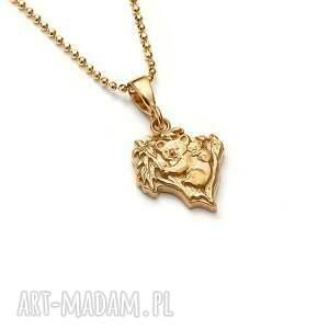 handmade wisiorki misie koala mini talizman ze złoconego srebra