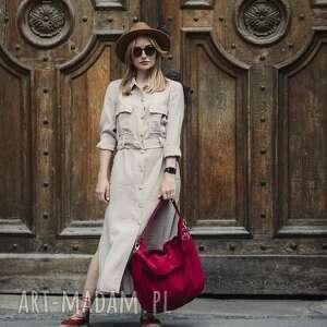 czerwona torba worek z zamszu ekologicznego, torebka na ramię, codzień