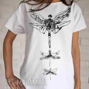 bluzki ważki koszulka bawełniana biała z nadrukiem s/m, koszulka, bluzka, bawełna