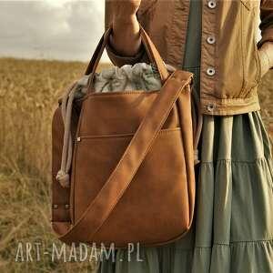 na ramię miniks rudy paproć, torebka, vegan, len, tkanina, boho torebki