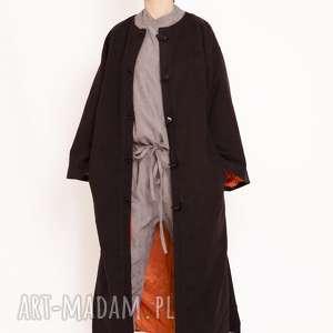 Płaszcz maxi z flauszu, maxi, lausz, długi, guziki, kontrastowy