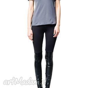bluzka z aplikacjami na ramionach - grafit, jersey, aplikacje