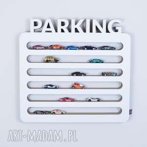 pokoik dziecka półka na resoraki, samochodziki parking biały, chłopiec