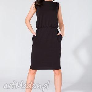 ręczne wykonanie sukienki sukienka midi z kieszeniami t132 czarny