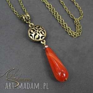 ~angelo~ naszyjnik wisiorek z AGATEM ażurowy metal, wisiorek, naszyjnik, kamień, agat