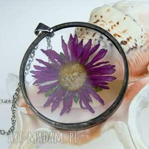 ręcznie robione naszyjniki 1173 naszyjnik xxl z suszonymi kwiatami terrarium tiffany