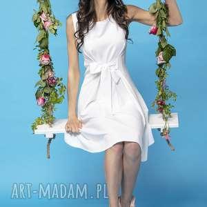 sukienka 2 w 1 wiązana na kokardę t230, biały, sukienka, elegancka, kokarda, 2w1