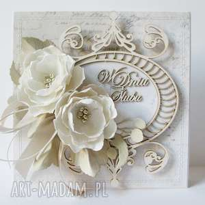 ręcznie robione scrapbooking kartki ślubna elegancja - w pudełku